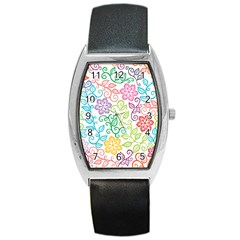 Texture Flowers Floral Seamless Barrel Style Metal Watch