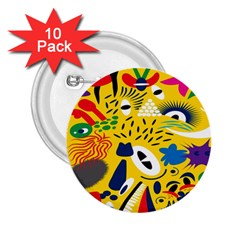 Yellow Eye Animals Cat 2 25  Buttons (10 Pack)  by AnjaniArt