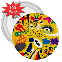 Yellow Eye Animals Cat 3  Buttons (100 Pack)