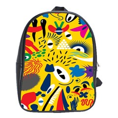 Yellow Eye Animals Cat School Bags (xl)  by AnjaniArt