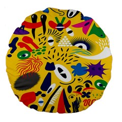 Yellow Eye Animals Cat Large 18  Premium Flano Round Cushions