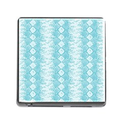 Snake Skin Blue Chevron Wave Memory Card Reader (square) by AnjaniArt