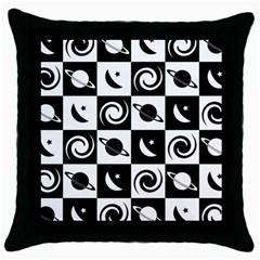 Space Month Saturnus Planet Star Hole Black White Throw Pillow Case (black) by AnjaniArt