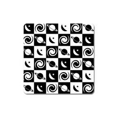 Space Month Saturnus Planet Star Hole Black White Square Magnet by AnjaniArt