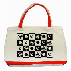Space Month Saturnus Planet Star Hole Black White Classic Tote Bag (red)