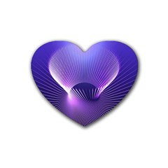 Space Galaxy Purple Blue Line Rubber Coaster (heart)