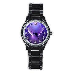 Space Galaxy Purple Blue Line Stainless Steel Round Watch
