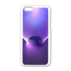 Space Galaxy Purple Blue Line Apple Iphone 6/6s White Enamel Case by AnjaniArt