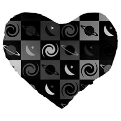 Space Month Saturnus Planet Star Hole Black White Grey Large 19  Premium Heart Shape Cushions by AnjaniArt
