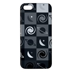 Space Month Saturnus Planet Star Hole Black White Grey Iphone 5s/ Se Premium Hardshell Case by AnjaniArt
