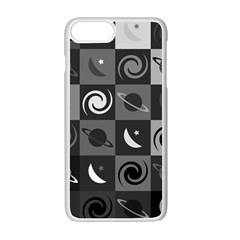 Space Month Saturnus Planet Star Hole Black White Grey Apple Iphone 7 Plus White Seamless Case