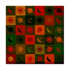 Space Month Saturnus Planet Star Hole Black White Multicolour Orange Tile Coasters by AnjaniArt