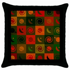 Space Month Saturnus Planet Star Hole Black White Multicolour Orange Throw Pillow Case (black) by AnjaniArt