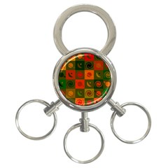 Space Month Saturnus Planet Star Hole Black White Multicolour Orange 3 Ring Key Chains by AnjaniArt