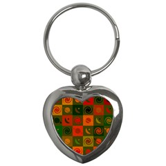 Space Month Saturnus Planet Star Hole Black White Multicolour Orange Key Chains (heart)  by AnjaniArt
