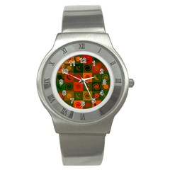 Space Month Saturnus Planet Star Hole Black White Multicolour Orange Stainless Steel Watch by AnjaniArt