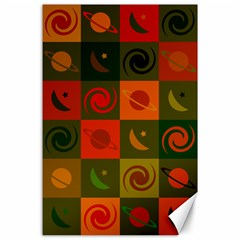 Space Month Saturnus Planet Star Hole Black White Multicolour Orange Canvas 24  X 36