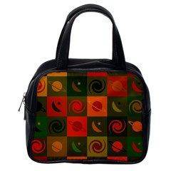 Space Month Saturnus Planet Star Hole Black White Multicolour Orange Classic Handbags (one Side) by AnjaniArt