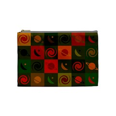 Space Month Saturnus Planet Star Hole Black White Multicolour Orange Cosmetic Bag (medium)  by AnjaniArt