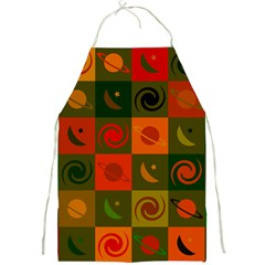 Space Month Saturnus Planet Star Hole Black White Multicolour Orange Full Print Aprons by AnjaniArt
