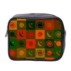 Space Month Saturnus Planet Star Hole Black White Multicolour Orange Mini Toiletries Bag 2 Side by AnjaniArt