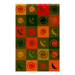 Space Month Saturnus Planet Star Hole Black White Multicolour Orange Shower Curtain 48  X 72  (small)  by AnjaniArt