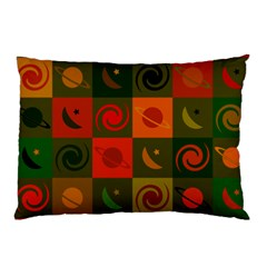 Space Month Saturnus Planet Star Hole Black White Multicolour Orange Pillow Case (two Sides) by AnjaniArt