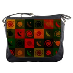 Space Month Saturnus Planet Star Hole Black White Multicolour Orange Messenger Bags by AnjaniArt