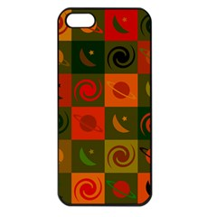 Space Month Saturnus Planet Star Hole Black White Multicolour Orange Apple Iphone 5 Seamless Case (black) by AnjaniArt