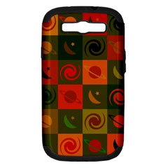 Space Month Saturnus Planet Star Hole Black White Multicolour Orange Samsung Galaxy S Iii Hardshell Case (pc+silicone) by AnjaniArt