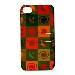 Space Month Saturnus Planet Star Hole Black White Multicolour Orange Apple Iphone 4/4s Hardshell Case With Stand by AnjaniArt