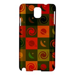 Space Month Saturnus Planet Star Hole Black White Multicolour Orange Samsung Galaxy Note 3 N9005 Hardshell Case by AnjaniArt