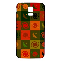 Space Month Saturnus Planet Star Hole Black White Multicolour Orange Samsung Galaxy S5 Back Case (white) by AnjaniArt
