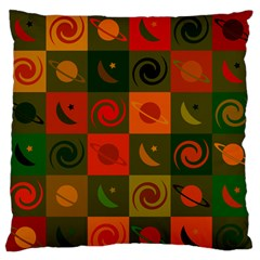Space Month Saturnus Planet Star Hole Black White Multicolour Orange Large Flano Cushion Case (one Side) by AnjaniArt