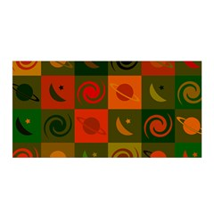 Space Month Saturnus Planet Star Hole Black White Multicolour Orange Satin Wrap by AnjaniArt