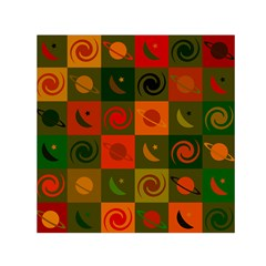 Space Month Saturnus Planet Star Hole Black White Multicolour Orange Small Satin Scarf (square) by AnjaniArt