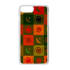 Space Month Saturnus Planet Star Hole Black White Multicolour Orange Apple Iphone 7 Plus White Seamless Case by AnjaniArt