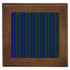 Split Diamond Blue Green Woven Fabric Framed Tiles by AnjaniArt