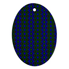 Split Diamond Blue Green Woven Fabric Ornament (oval) by AnjaniArt