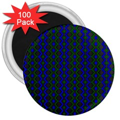Split Diamond Blue Green Woven Fabric 3  Magnets (100 Pack) by AnjaniArt