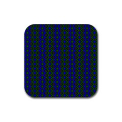 Split Diamond Blue Green Woven Fabric Rubber Coaster (square)  by AnjaniArt