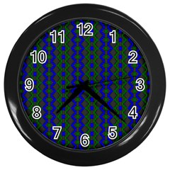 Split Diamond Blue Green Woven Fabric Wall Clocks (black) by AnjaniArt