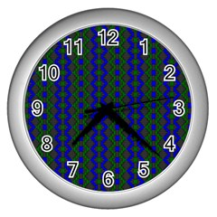 Split Diamond Blue Green Woven Fabric Wall Clocks (silver)  by AnjaniArt