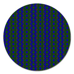 Split Diamond Blue Green Woven Fabric Magnet 5  (round) by AnjaniArt