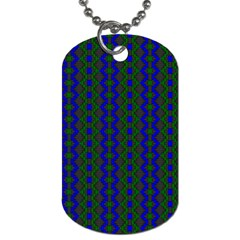 Split Diamond Blue Green Woven Fabric Dog Tag (two Sides) by AnjaniArt