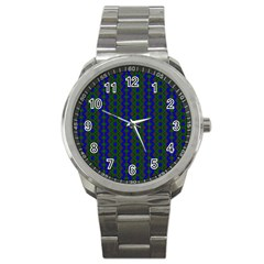 Split Diamond Blue Green Woven Fabric Sport Metal Watch by AnjaniArt