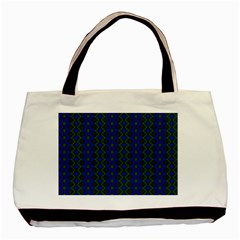 Split Diamond Blue Green Woven Fabric Basic Tote Bag by AnjaniArt