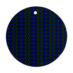 Split Diamond Blue Green Woven Fabric Round Ornament (two Sides) by AnjaniArt
