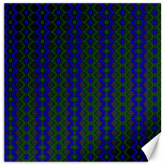 Split Diamond Blue Green Woven Fabric Canvas 16  X 16   by AnjaniArt