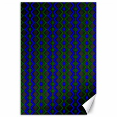 Split Diamond Blue Green Woven Fabric Canvas 24  X 36  by AnjaniArt